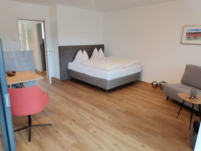 Wohn/Schlafbereich mit kleinem ausziehbarem Sofa.