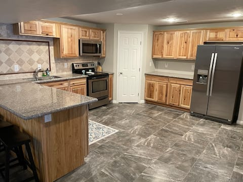 Spacious two bedroom condo with full kitchen.