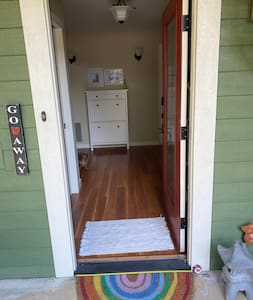 """The front door is exactly 36"""" wide and can be easily navigated by a person using a wheelchair, walker, cane, or other mobility assistance device."""