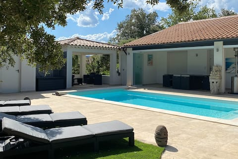 Comfy villa with a pool, 2 private rooms