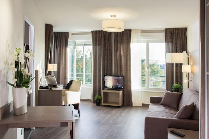 Le salon de l'appartement, avec couchage supplémentaire grâce au canapé-lit