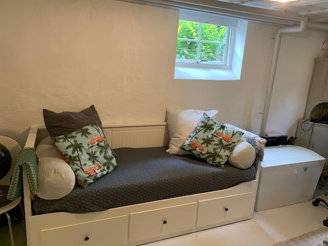 Double sleeping bed in basement