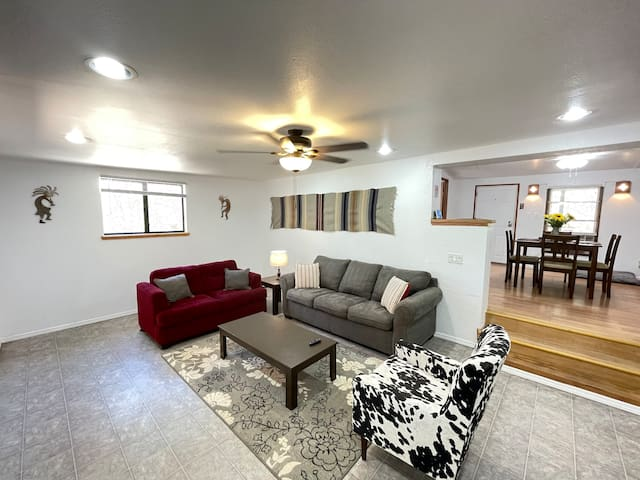 Spacious living room with sofa bed, sofa and space for queen air mattress.