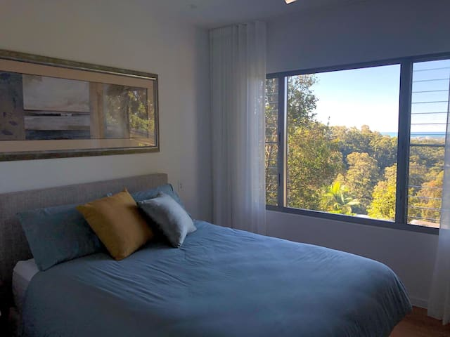 Middle floor has two bedrooms and bathroom   Bedroom 1 with views