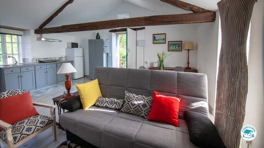 El espacio es diáfano, con un sofá fácilmente convertible en una cómoda cama con el sencillo gesto de una mano.
