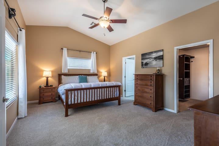 Master bedroom, walk-in closet and master bath