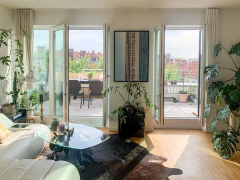 bright design apartment with quiet rooftop terrace