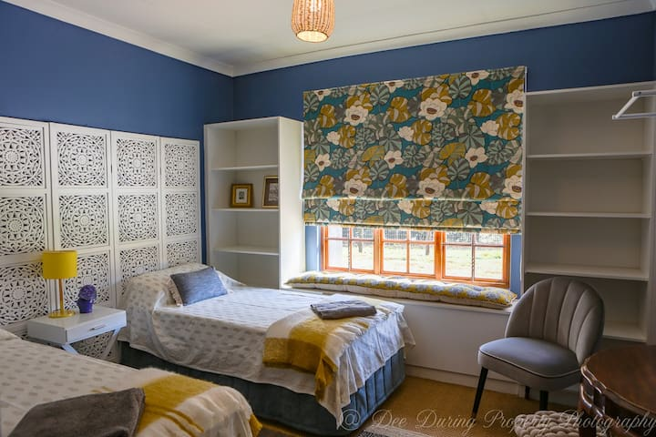 A jewel box bedroom - comfort and fun, and a great night's sleep in top-quality bed linen.