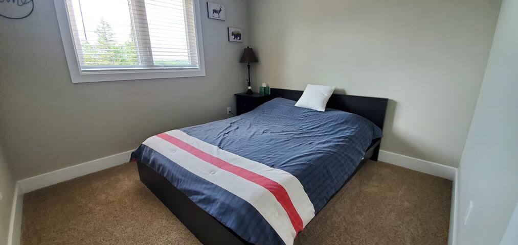 Upper level Bedroom. Queen Bed. Closet. Dresser. Night table and lamp. Lake view.