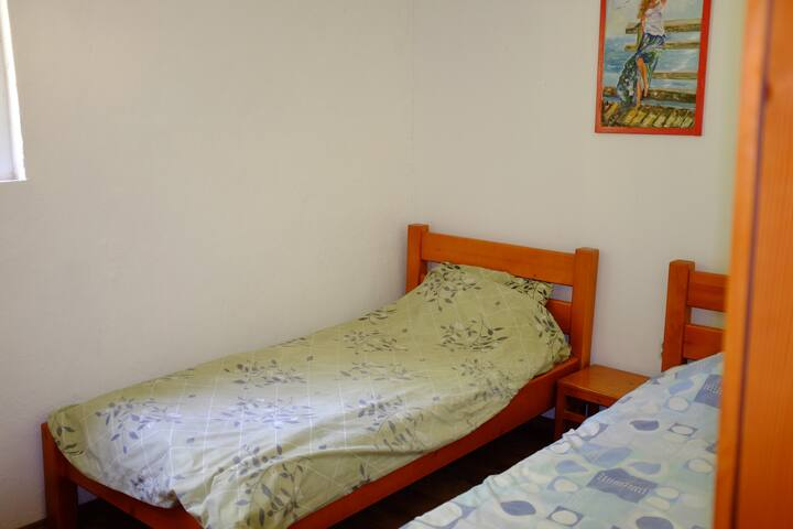 All our twin rooms have two single beds, and share a full bathroom.