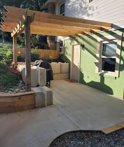 Concrete patio is about an inch above the gravel