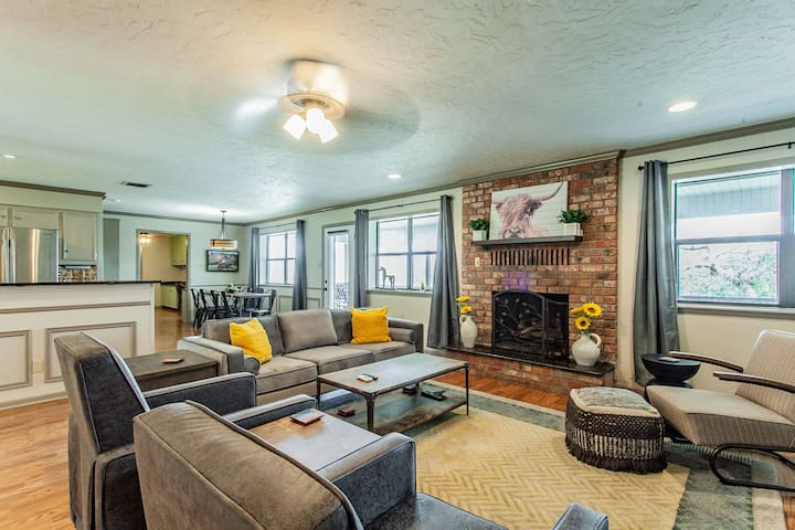 Comfy living room with recliners and a gas fireplace.
