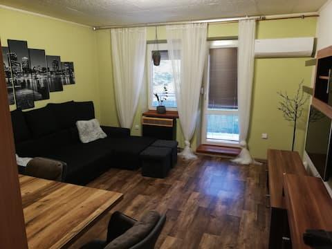 Apartamento 3+kk en una zona tranquila de la ciudad, rodeado de vegetación