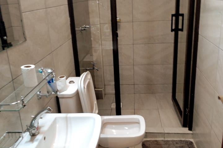 Comfortable private bathroom fit for a family