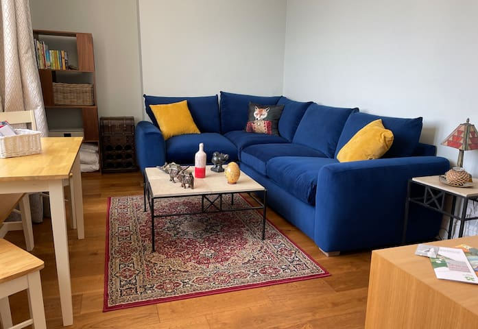The living room has a VERY comfy sofa which turns into a double bed.