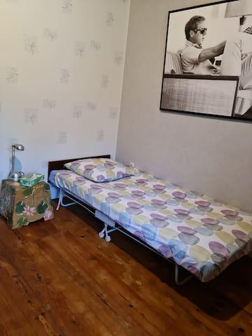la chambre 3  Un lit de camp pouvant accueillir 1 personne peut être replié pour pouvoir insérer 2 lits bébés. l'étagère est à la disposition de nos invités. la toile occupant le pan de mur sera enlevée en cas d'occupation d'enfant en bas âge.