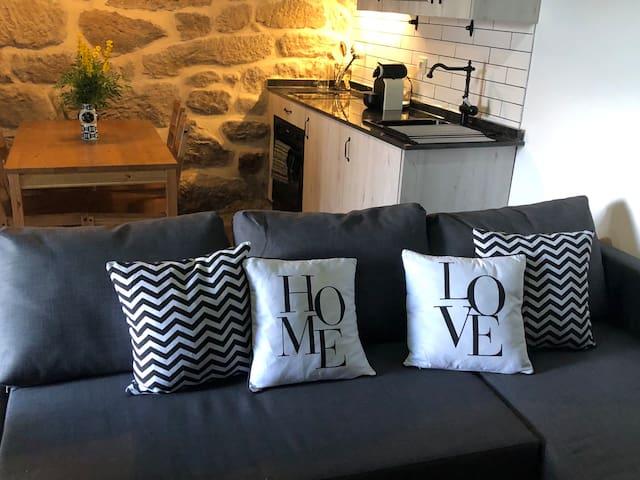 Salón y cocina. Ambas zonas ubicadas en un espacio común situado en la plata baja.