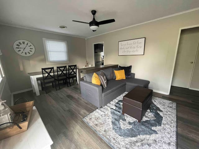 Hang out with everyone while enjoying the dining and living open floor plan.