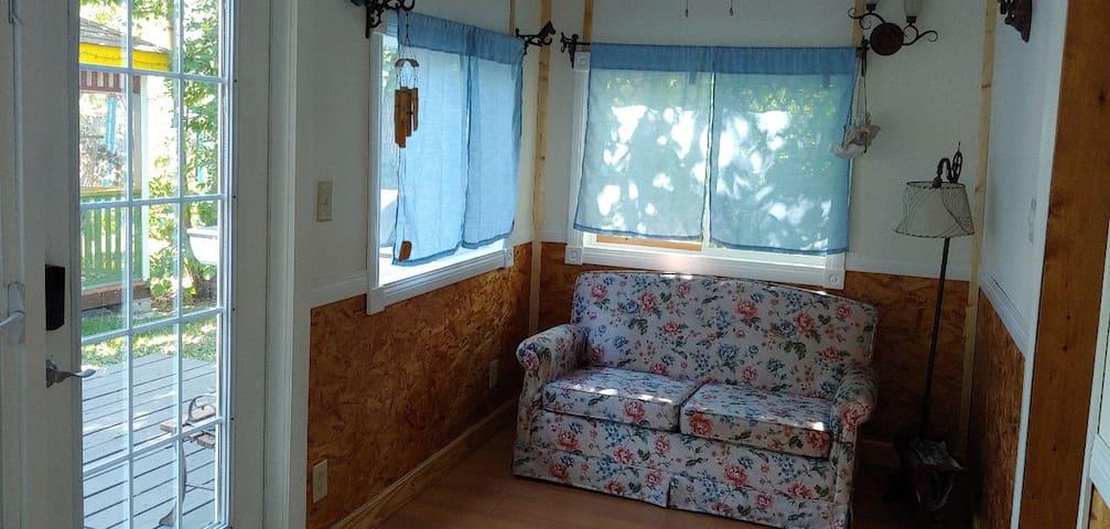 Rear living area, single sofa bed