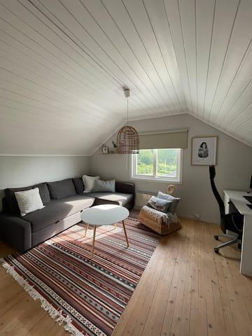 Soverom og kontor. Sovesofa med plass til to personer.