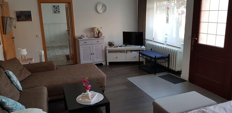 """Wohn-/Schlafbereich mit 32"""" TV, Eingangsbereich"""