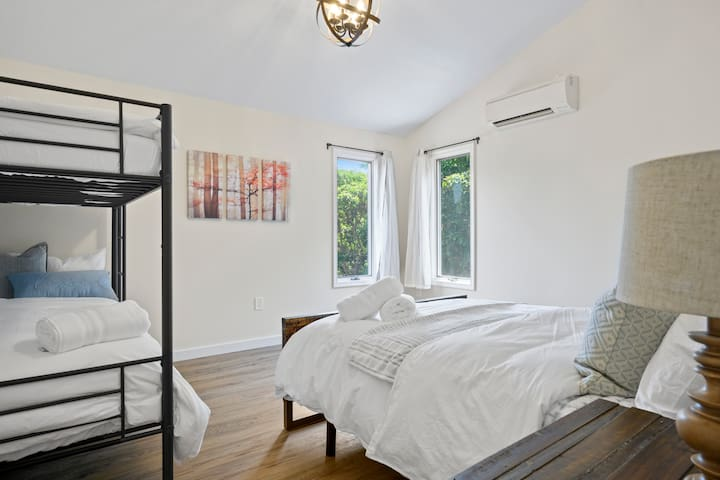 Second floor bedroom sleeps 4 people.
