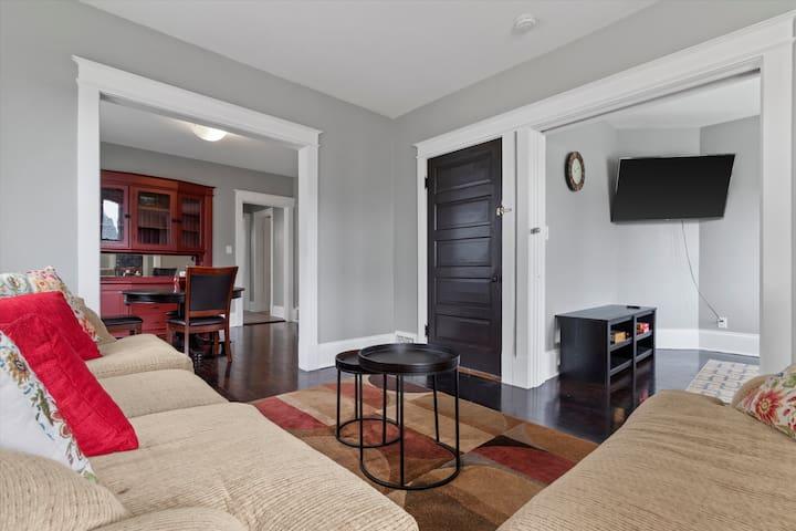 Family room with hard wood floors