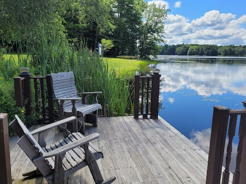 Lake front property with amazing  views in a private lake community, deck and firepit, 10 mins from  Salmon river