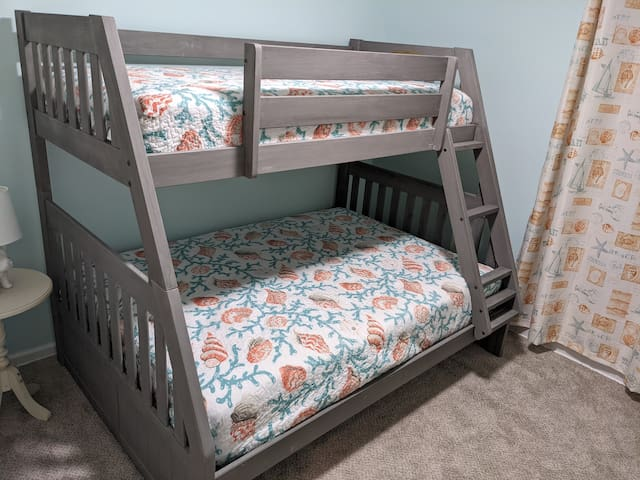 Bedroom 2 with full bed underneath and twin bed on top. Perfect for families, friends and/or kids.