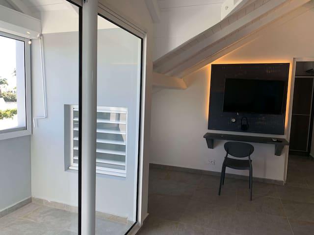 salon climatisé avec terrasse, ventilateur, bureau, télé