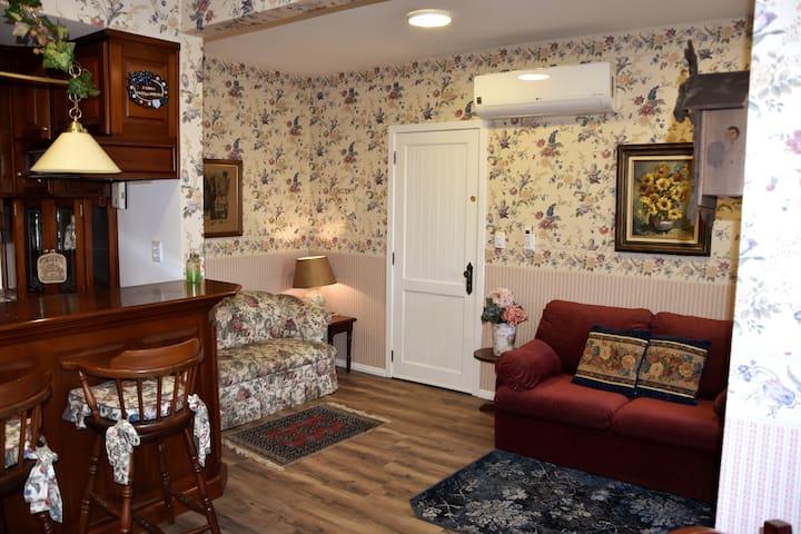 Sala de estar, com sofá e sofá-cama. Decoração no estilo europeu. Papel de parede inglês