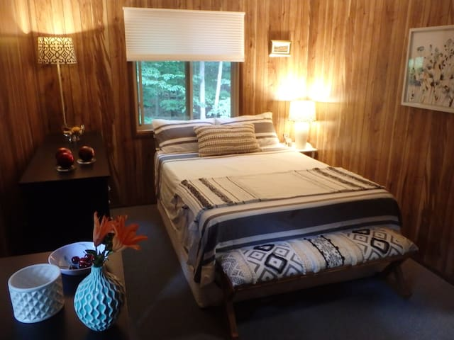 Bedroom upstairs with spacious Queen bed
