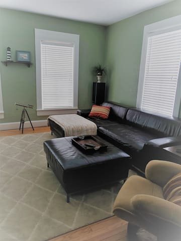 Living Room Couch with ottoman can sleep one adult or two kids