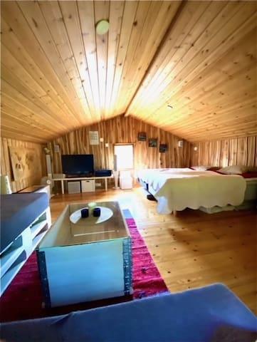 Oleskelutila-makuuhuone