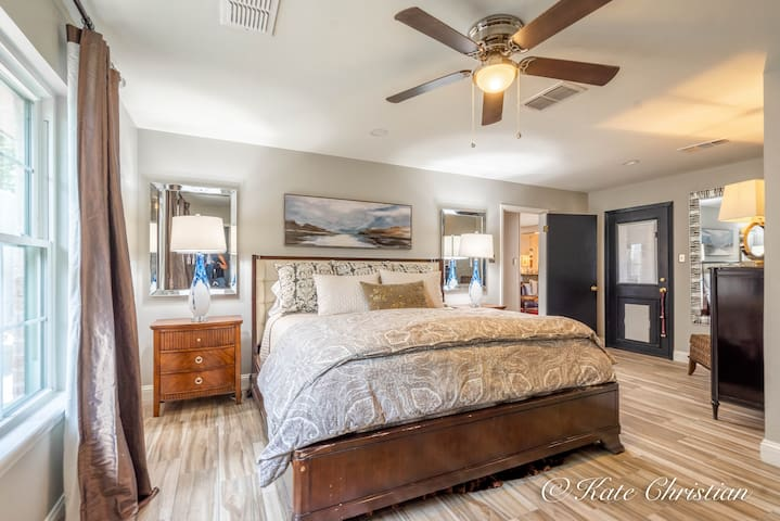 Primary Suit, King Bed w/ ( full bath ) and outside Patio Access.