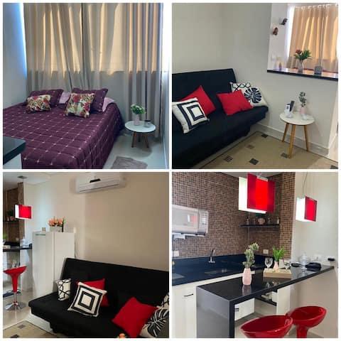 公寓单间公寓浪漫c/无线网络、泳池、AR、全套