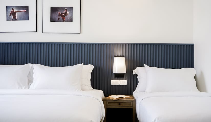 Double bed and Single Bed  Guests can sleep up to 3 people in the bedroom