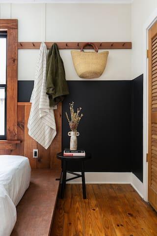 Bedroom #3 — full size Casper mattress, Brooklinen bedding, small closet