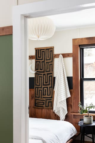 The Bedrooms — three matching bunk-style rooms outfitted Casper mattress and Brooklinen bedding