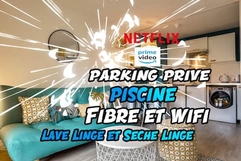✩Netflix★T2 Private✩ Parking ★✩ Design Terrace ★Swimming Pool✩