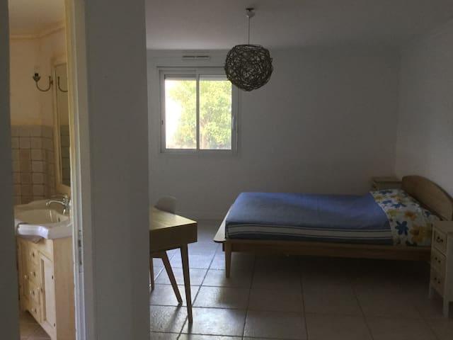 Chambre d'hôtes vue sur le Jardin au Levant et  Jasmin et Kumquat de ce côté.