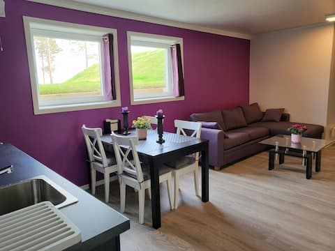 50m2 apartment with parking, garden & view.