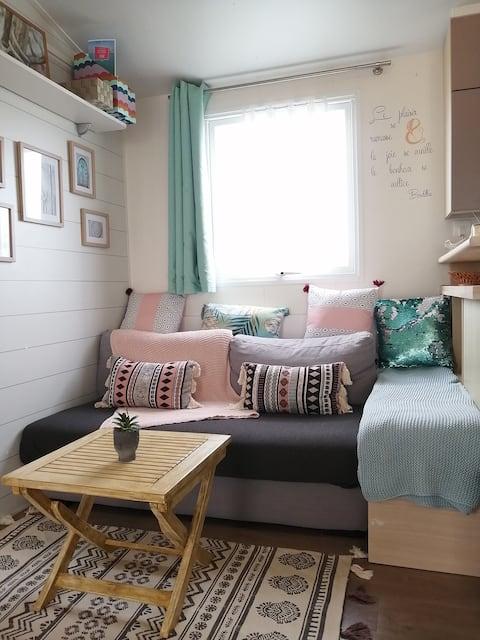 Cottage bord de mer, chaleureux et ambiance zen.
