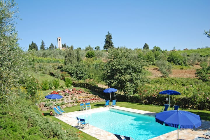 Panoramic Tuscan villa with pool | Private garden