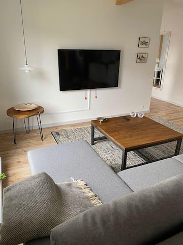 Hyggestue med stort TV, og sovesofa kan sættes op til dobbeltseng.