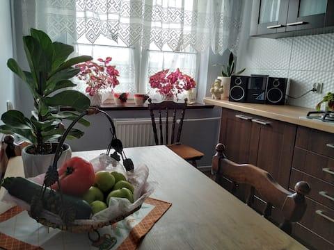 Przestronne mieszkanie ze śniadaniami na Kaszubach