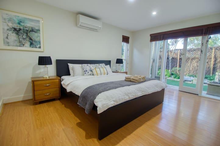 Master bedroom with closet, en-suite bathroom. And Aircon.
