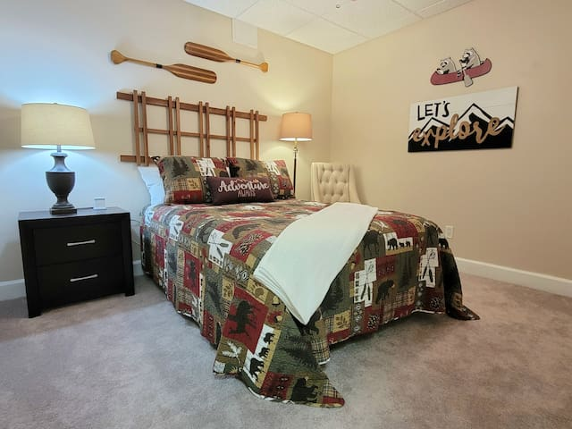 BR-3 double bed with the bathroom right out the door.