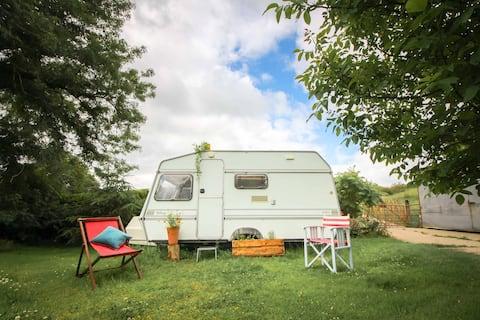 Vintage cosy caravan in secluded Welsh beauty spot