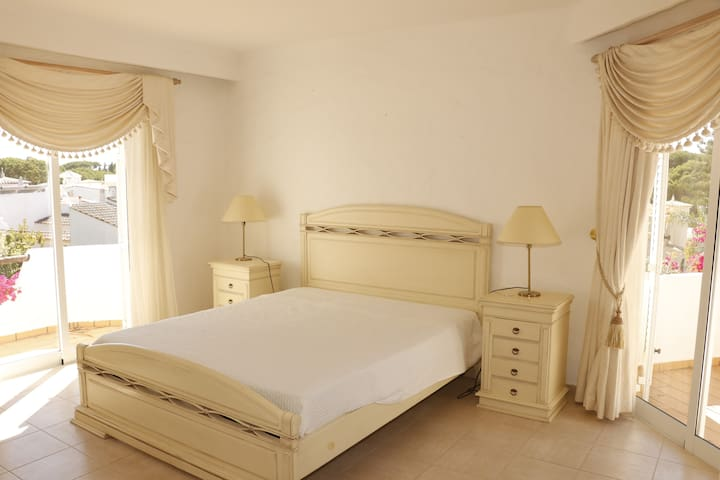 Master bedroom suite, first floor, is very spacious, with two balconies and large closet